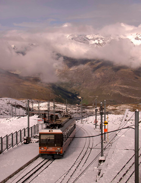 Gornegrat Bahn, the Matterhorn railway,  Zermatt, Switzerland, Europe.