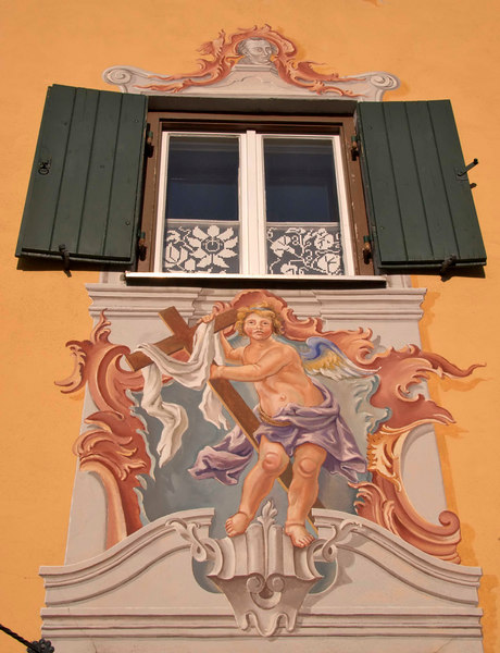 Oberammergau is famous for its fine frescoes on the facades of its typical Upper Bavarian houses. Obergammergau, Bavaria, Germany, Europe.