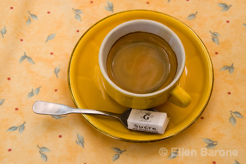 Cafe au lait with sugar, Provence, France, Europe.