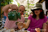 Wayfarers guide and walker at lunch in the Luberon, Provence, France, Europe.