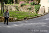 Walking the dog, Vaugines, Provence, France, Europe