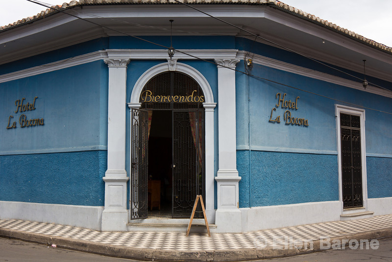 Entry, Hotel la Bocona, an intimate six guest room boutique hotel in a restored colonial mansion in Granada, Nicaragua.
