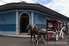 Horse drawn-carriage, hotel entrance, Hotel la Bocona, an intimate six guest room boutique hotel in a restored colonial mansion in Granada, Nicaragua.