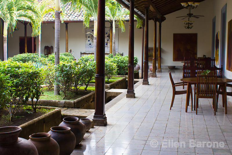Garden courtyard and public area, Hotel la Bocona, an intimate six guest room boutique hotel in a restored colonial mansion in Granada, Nicaragua.
