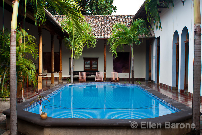 Pool area, Hotel la Bocona, an intimate six guest room boutique hotel in a restored colonial mansion in Granada, Nicaragua.