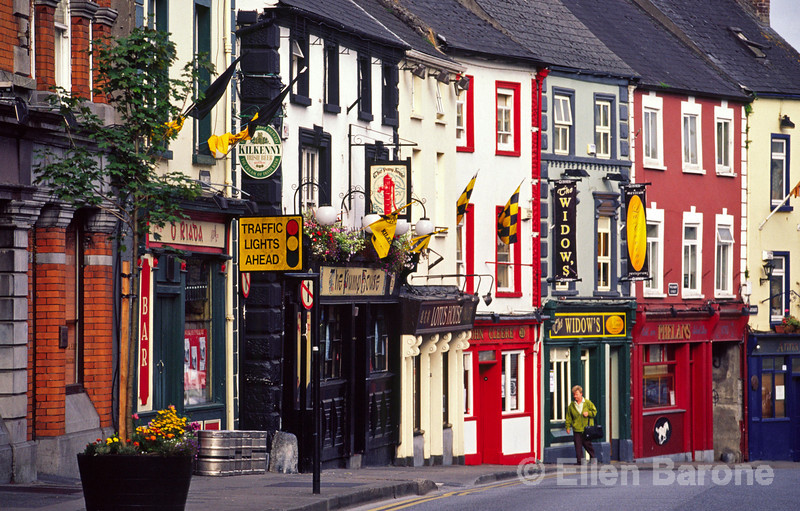 Colorful shops and restaurants line the high street of Kilkenny, Ireland