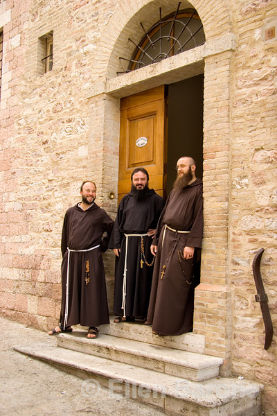 Francescian Friars in Assisi, a great Christian center, Umbria, Italy