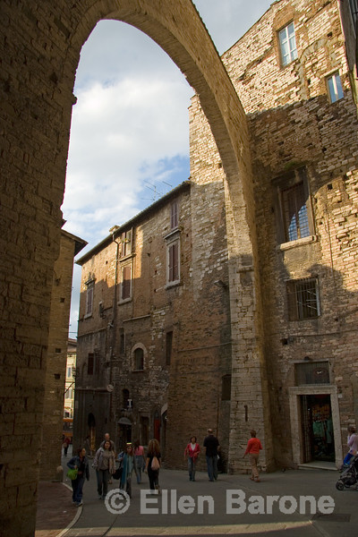 Etruscan walls and graceful arches, Perugia, Umbria, Italy