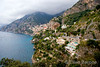 a breathtaking view of the steep village of Positano on the scenic Amalfi Coast, southern Italy