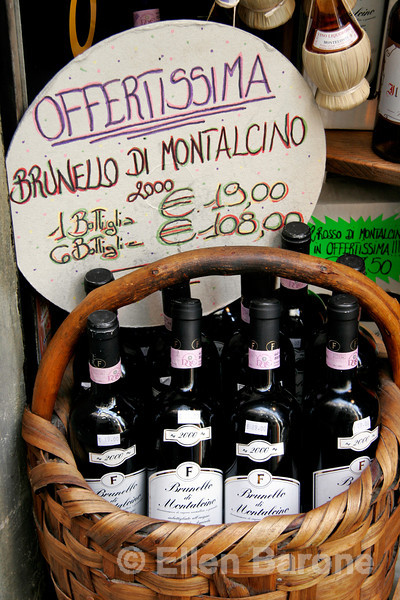 wine display, Siena, Tuscany, Italy