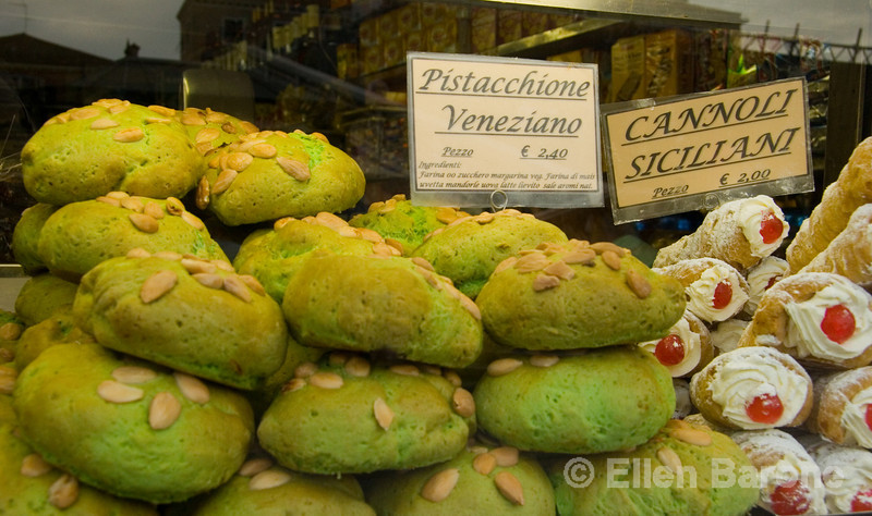 Venetian and Sicilian pastries for sale at an old fashioned pasticceria, Venice, northern Italy