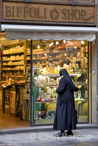even the nuns window shop in Florence (Firenze), Tuscany, Italy