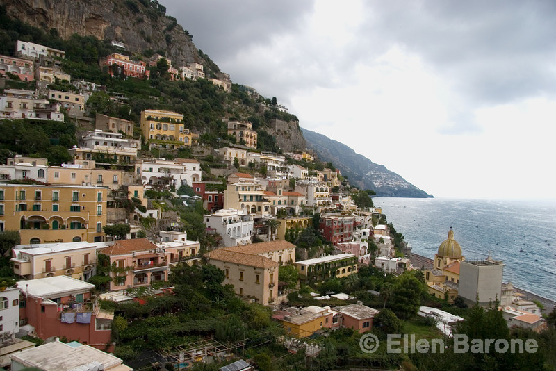 Positano, a village clambering down a steep slope to the Tyrrenian Sea, Amalfi Coast, southern Italy