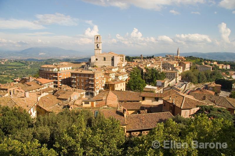 a rooftop skyline of the lovely hilltop town of Perugia, Umbria, Italy