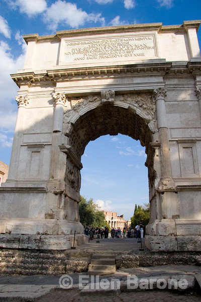 Arch of Titus (AD 81) was erected bye Emperor Domitian to commemorate the sack of Jerusalem by his father Vespasian and brother Titus 13 years earlier, Via Sacra, the Roman Forum, Rome, Italy