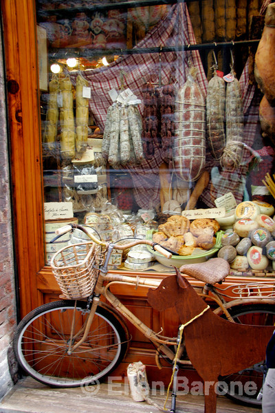cheese and sausage shop, Siena, Tuscany, Italy