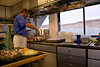 Chef Craig White prepares breakfast in the yacht's galley aboard Safari Quest,  Sea of Cortez, Baja California Sur, Mexico.