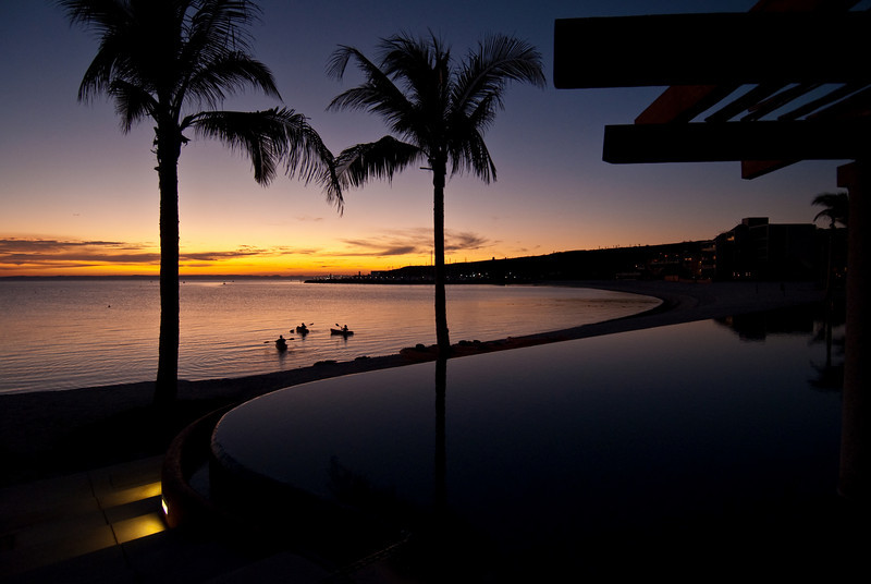 CostaBaja resort community, pool area and beach at sunset, La Paz, Baja Sur, Mexico.