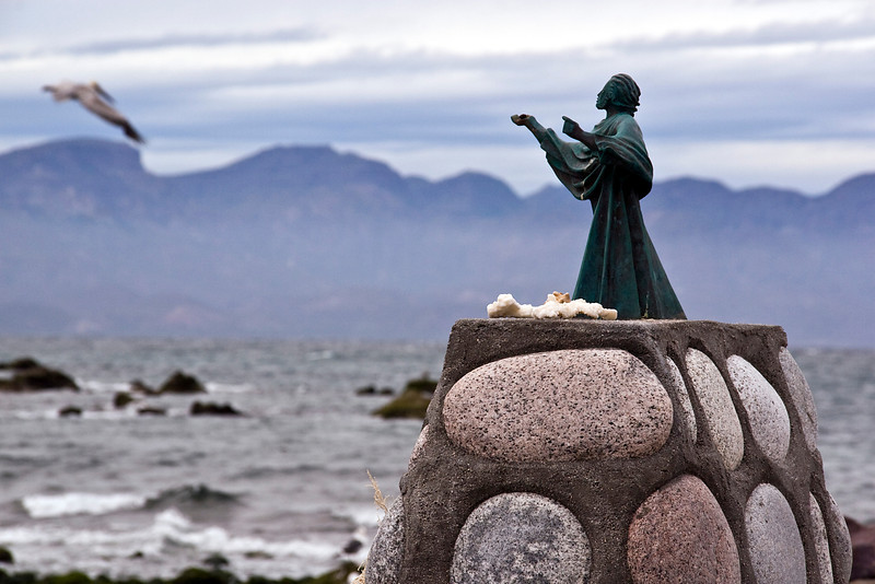 A lovely statuette watches over remote Isla Coyote, a lonely fishing outpost in the Sea of Cortez, Baja California Sur, Mexico.