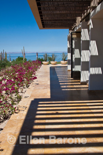 An inviting pre or post Baja cruise alternative: Exterior detail, Golf Clubhouse, Costa Baja Resort, La Paz, Baja Sur, Mexico.
