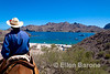 Rancher, Alejo Romero, Mule ride, Bahia Aqua Verde, Sea of Cortez, Baja California, Mexico.