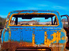 A colorful rusty truck is one of the last reminders of an old salt mining operation, Punta Salinas, Sea of Cortez, Baja California, Mexico.