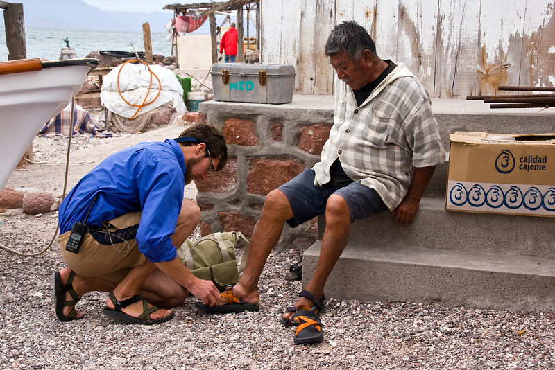 Safari Quest expedition leader, Kevin Martin, returns with the gift of Chaco sandals and photographs from his last visit to Isla Coyote, a lonely fishing outpost in the Sea of Cortez, Baja California Sur, Mexico.