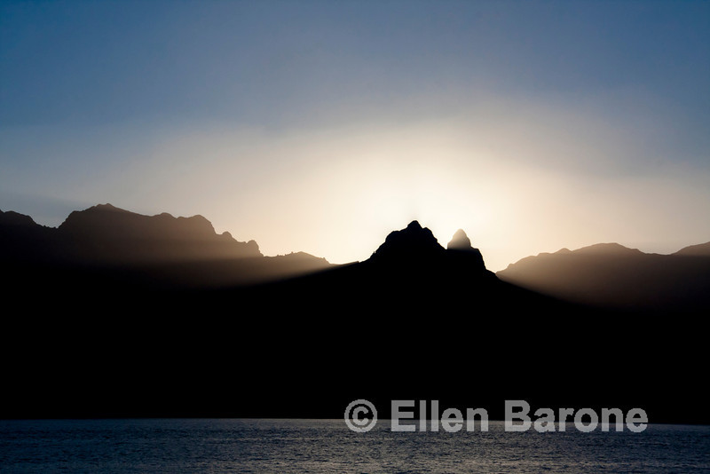 The day's last rays of light, Sea of Cortez, Baja California, Mexico.