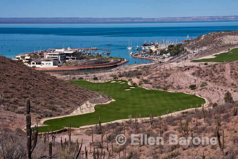 An inviting pre or post Baja cruise alternative: : View from golf clubhouse, Costa Baja Resort, La Paz, Baja Sur, Mexico.