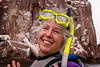Safari Quest passenger Paula  Schrader ready for snorkeling off Los Islotes, Sea of Cortez, Baja California Sur, Mexico.