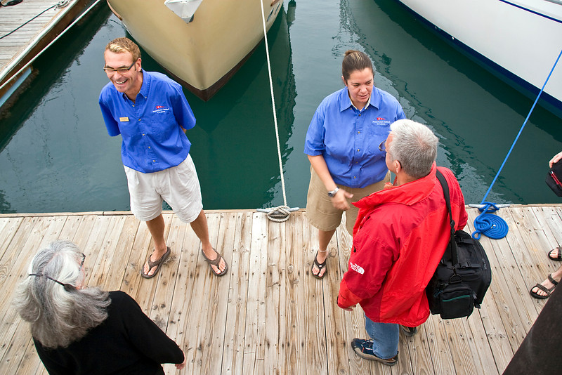Safari Quest crew members Craig White and Janet Aurelio say goodbye to passengers at the La Paz marina, Sea of Cortez, Baja California Sur, Mexico.