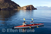 Sea kayaking in Balandra Bay off Isla del Carmen, Sea of Cortez, Baja California Sur, Mexico.