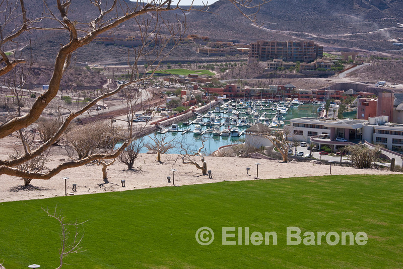 An inviting pre or post Baja cruise alternative: View from golf clubhouse, Costa Baja Resort, La Paz, Baja Sur, Mexico.
