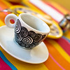 Colorful table and esspresso cup, Ajijic, Jalisco, Mexico.