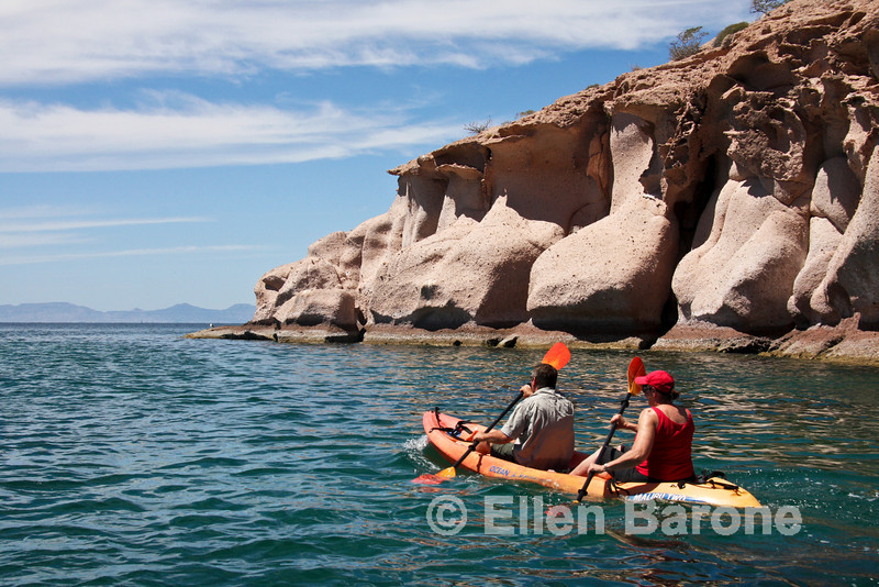 Sea kayaking at Bahia Ensenada Grande, Sea of Cortez, Baja California, Mexico.
