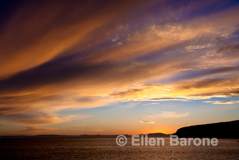 A dramatic display of the day's last rays of sunlight, Sea of Cortez, Baja California, Mexico.