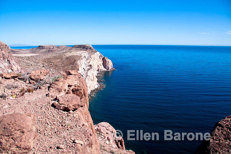 Seascape view from atop Isla Espiritu Santo, Sea of Cortez, Baja California, Mexico.
