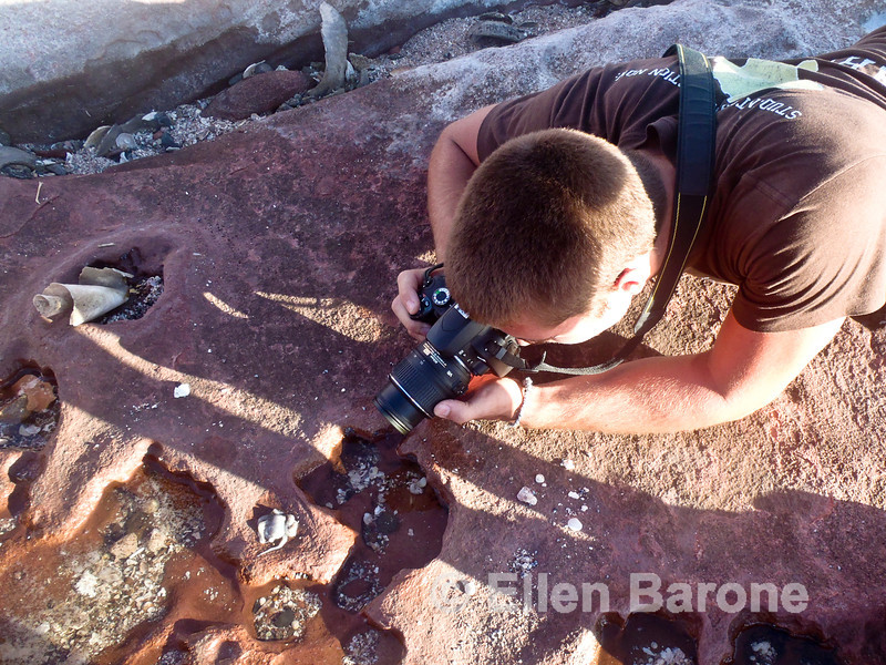 Safari Quest passenger Jason Mauro photographing tidepools at Puerto Los Gatos, Sea of Cortez, Baja California, Mexico.