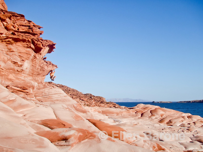 Scenic red sandstone playground at Puerto Los Gatos, Sea of Cortez, Baja California, Mexico.