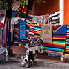 Colorful blankets and weavings for sale, Ajijic, Jalisco, Mexico.