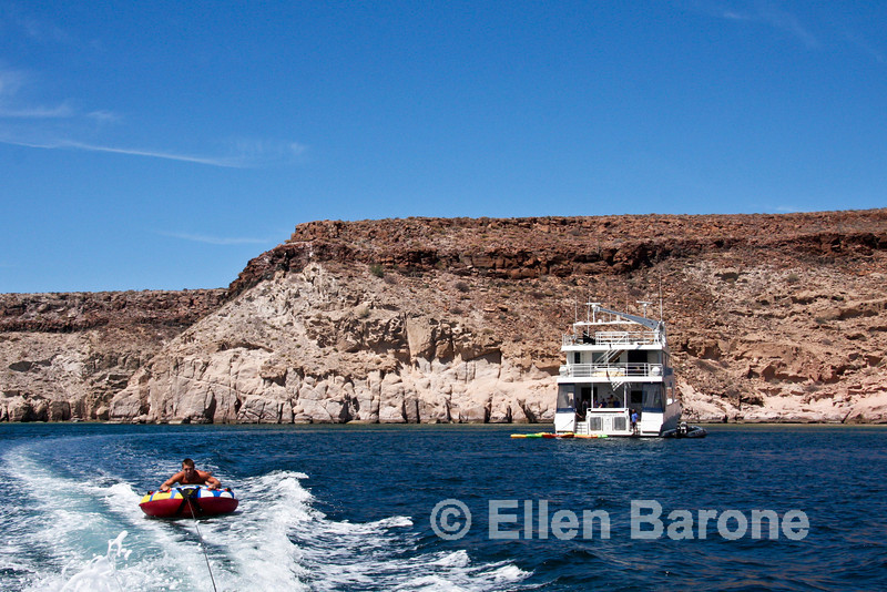 Wake tubing, Safari Quest passenger Jason Mauro, Sea of Cortez, Baja California, Mexico.