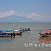 Colorful tour boats, Lago de Chapala (Lake Chapala), Chapala, Jalisco, Mexico.