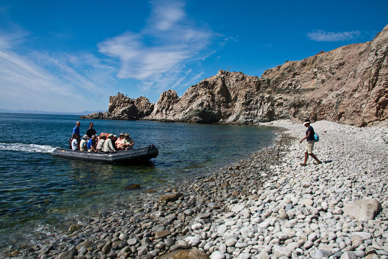 Safari Quest skiff and passengers at Punta Colorado, Sea of Cortez, Baja California, Mexico.