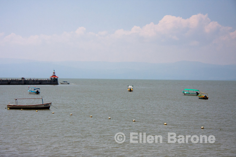 Tour boats and public pier, Lago de Chapala (Lake Chapala), Chapala, Jalisco, Mexico.