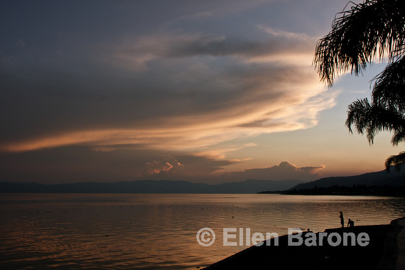 Lago de Chapala (Lake Chapala), at sunset, Ajijic, Jalisco, Mexico.