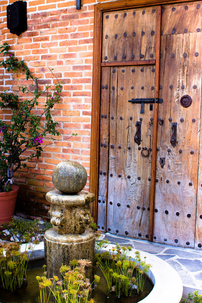 Antique doors and fountain, Ajijic, Jalisco, Mexico.