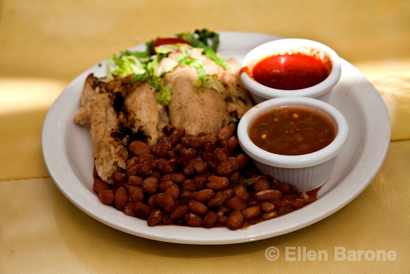 Tamales with red and green chile, Rancho de Chimayo restaurant, Chimayo, New Mexico.