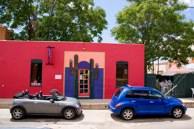The colorful facade of Vicki's Eatery, a local favorite, in the Yankie Street arts district, Silver City, New Mexico, USA.