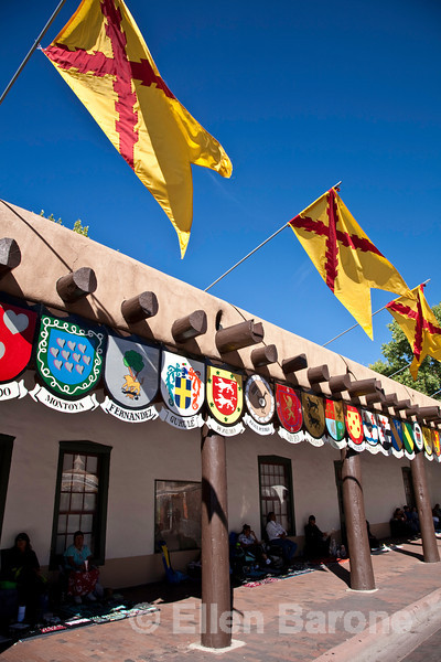 Fiesta time, Palace of the Governors, downtown plaza, Santa Fe, New Mexico
