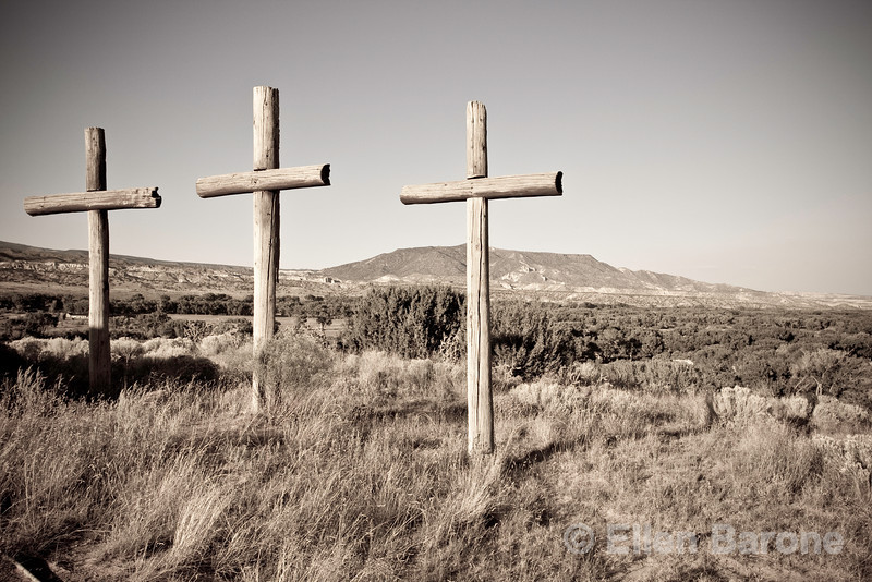 Crosses stand sentinel over the landscape in Abiquiu, New Mexico.